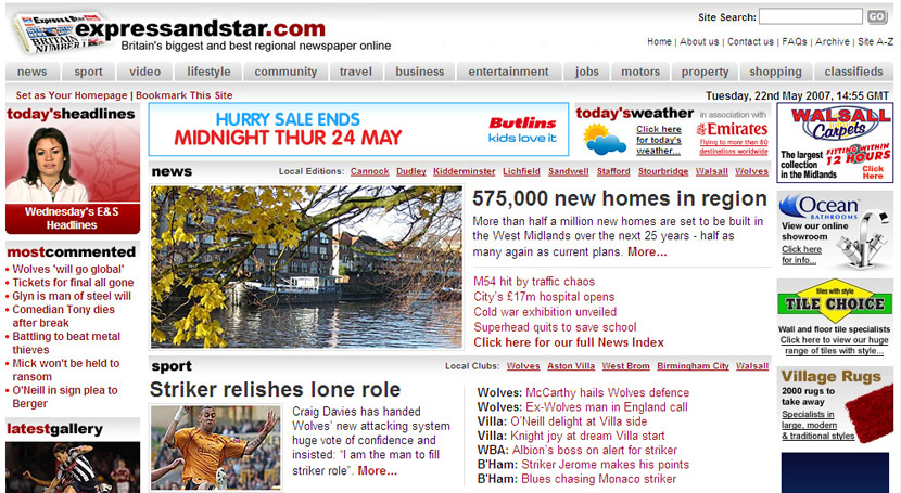 A new wider expressandstar.com layout (Home)