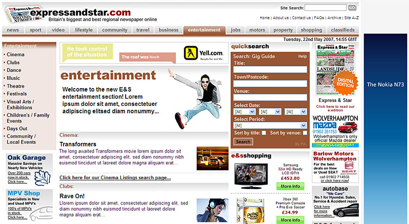 A new wider expressandstar.com layout (entertainment channel)