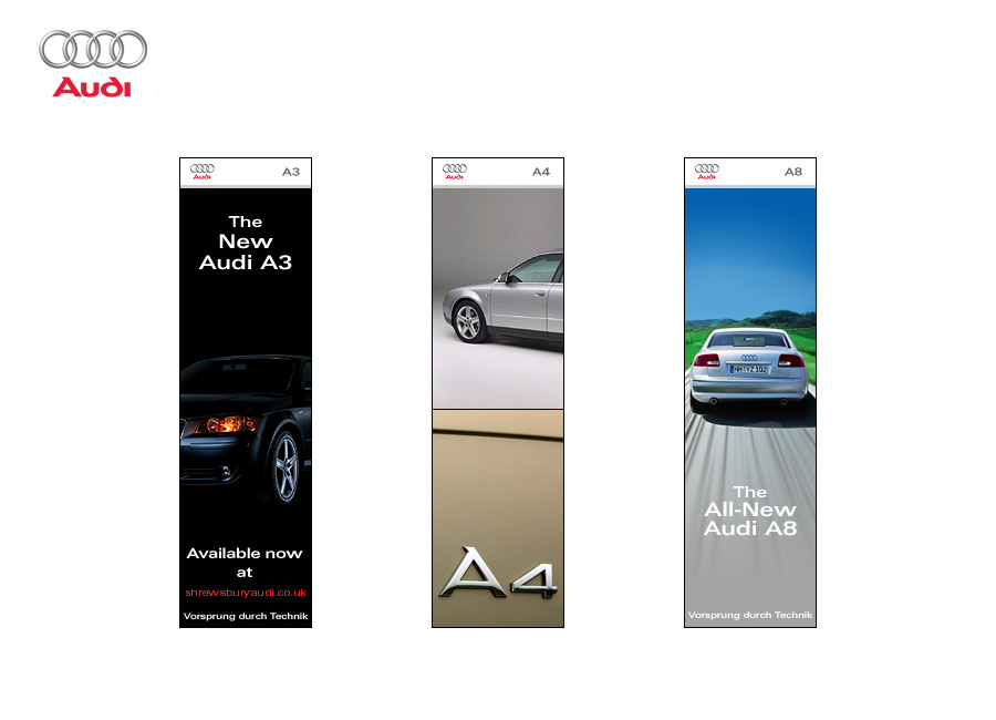 AUDI Banner Examples - A3, A4 and A8 Skyscrapers